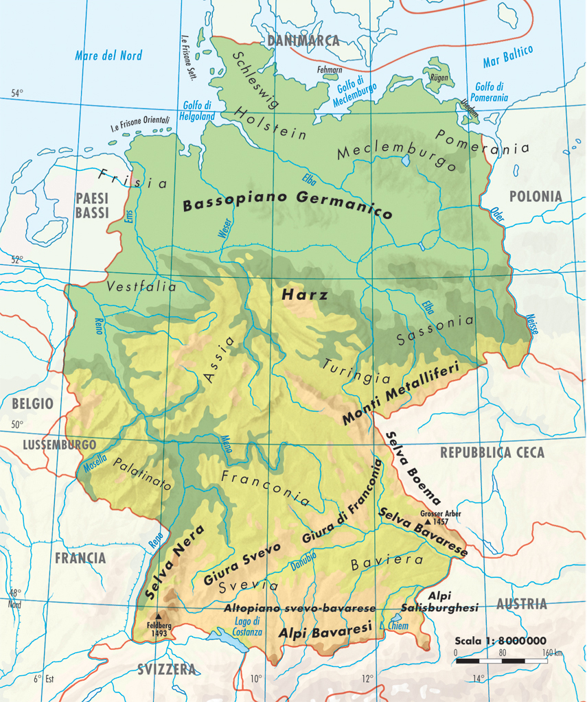 Immagini Cartina Fisica Germania.La Germania